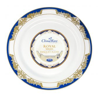 "ChinaWare Royal 10"" Banquet Plates - White/Cobalt/Gold - 10 Count"