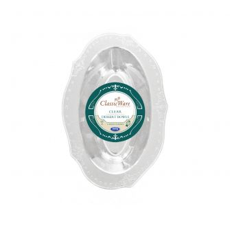 ClassicWare 4 oz. Oval Dessert Bowls - Clear Plastic - 18 Count