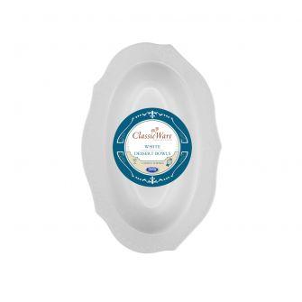 ClassicWare 4 oz. Oval Dessert Bowls - White Plastic - 18 Count