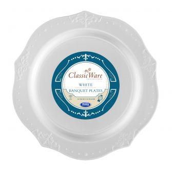 """ClassicWare 10"""" Banquet Plates - White Plastic - 18 Count"""