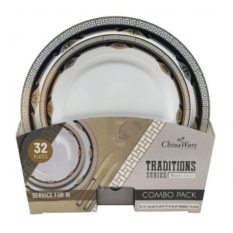 ChinaWare Traditions (Salad & Banquet Plate) Combo Pack – Black/Gold