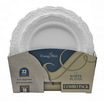 VintageWare White (Salad & Banquet Plate) Combo Pack – 32 Count