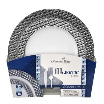 DiamondWare Majestic (Salad & Banquet Plate) Combo Pack – White / Silver