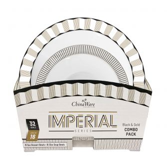 ChinaWare Imperial (Dessert & Soup Bowl) Combo Pack – Black/Gold
