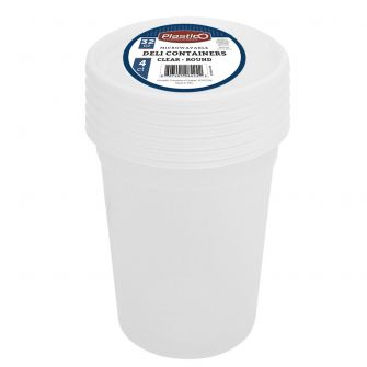 Plastico 32 oz. Packed Soup Container w/ Lid - Retail Pack - 4 Count