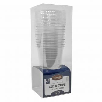 Plastico 24 oz. Cold Cups & Slotted Lids Combo - 10 ct.
