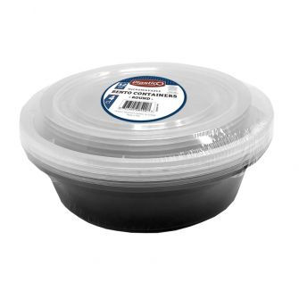 Plastico Microwavable Bento Containers - Round - 4 ct.