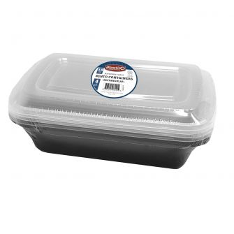 Plastico 38 oz. Microwavable Bento Containers - Rectangular - 4 ct.