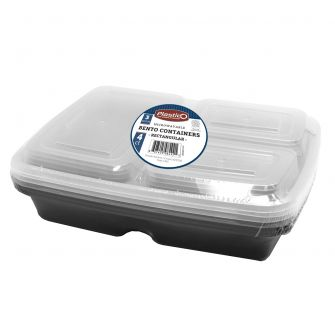 Plastico Microwavable 3 Compartment Bento Containers - Rectangular - 4 ct.