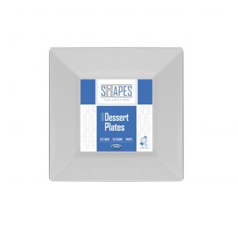 "Shapes Collection - Square 6.5"" Dessert Plate (White) - 10 Count"