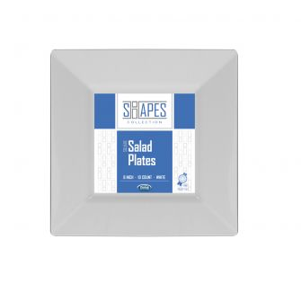 "Shapes Collection - Square 8"" Salad Plate (White) - 10 Count"