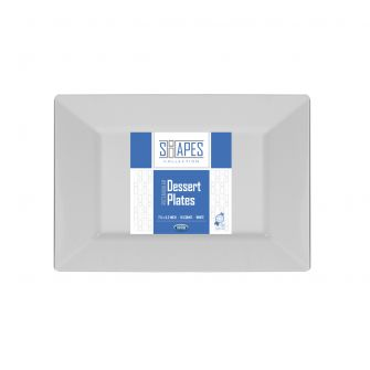 "Shapes Collection - Rectangular 7.5"" Dessert Plate (White) - 10 Count"