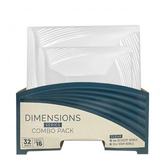 Dimensions Square Clear Bowls Combo Pack - 32 Count