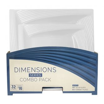 Dimensions Square White Plates Combo Pack - 32 Count