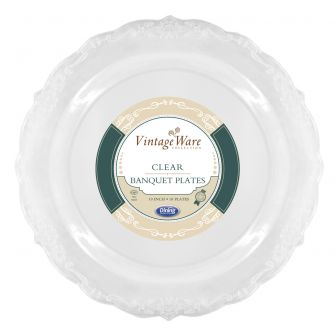 "VintageWare 10"" Banquet Plates - Clear Plastic - 18 Count"