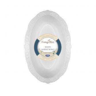 VintageWare 4 oz. Oval Dessert Bowls - White Plastic - 18 Count