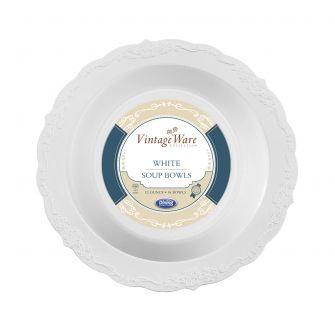 VintageWare 12 oz. Soup Bowls - White Plastic - 18 Count