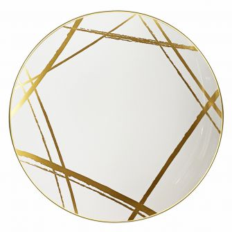 "CoupeWare Brush Stroke (White/Gold)  10.25"" Plates - 10 ct."