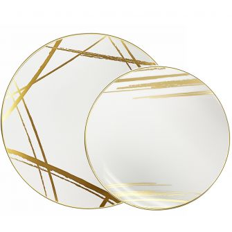 CoupeWare Brush Stroke (White/Gold)  Combo Plates - 32 ct.