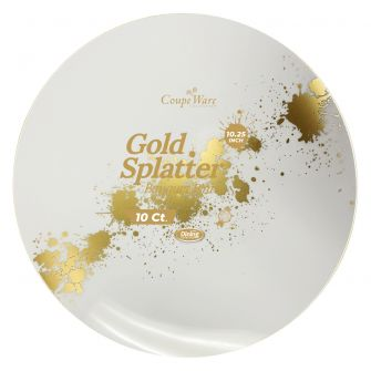 "CoupeWare Gold-Splatter W&G 10.25"" Plates - 10 ct."