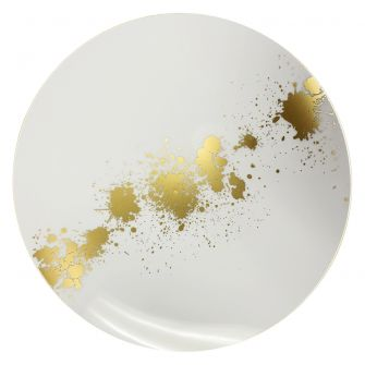 "CoupeWare Gold Splatter (White/Gold)  10.25"" Plates - 10 ct."