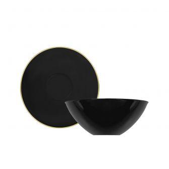 CoupeWare Basic 6 oz. Bowl (Black/Gold) - 10 ct.