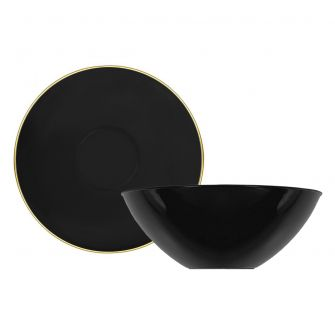 CoupeWare Basic 16 oz. Bowl (Black/Gold) - 10 ct.