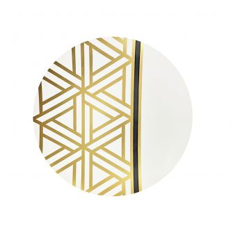 "CoupeWare Triangle Deco  (White/Gold)  7.5"" Plates - 10 ct."