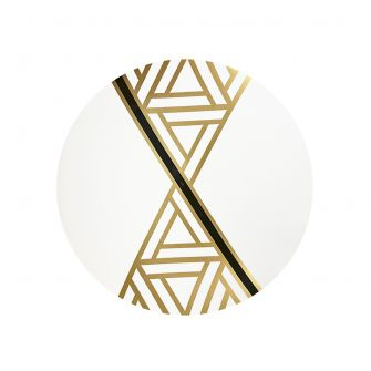 "CoupeWare Triangle Deco (White/Gold)  9"" Plates - 10 ct."