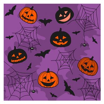 Halloween Lunch Napkins - Collage Purple - 20 ct.