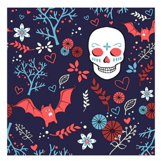 Halloween Lunch Napkins - Sugar Skull & Bats - 20 ct.