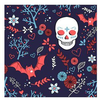 Halloween Lunch Napkins - Sugar Skull & Bats - 20 ct.