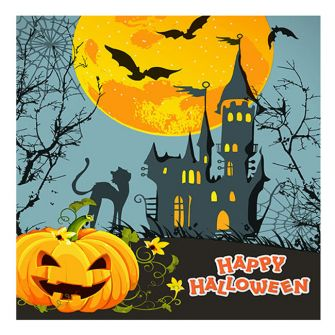 Halloween Lunch Napkins - Haunted Castle - 20 ct.