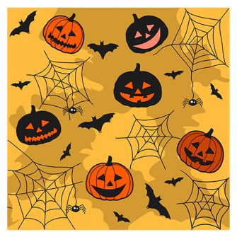 Halloween Lunch Napkins - Collage Orange - 20 ct.