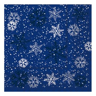 Christmas Lunch Napkins - Snowflakes Blue - 20 ct.