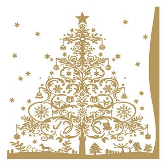 Christmas Lunch Napkins - Christmas Tree Gold - 20 ct.