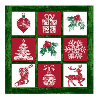 Christmas Lunch Napkins - Tis the Season Green - 20 ct.