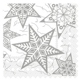 Christmas Lunch Napkins - Silver Snowflakes - 20 ct.