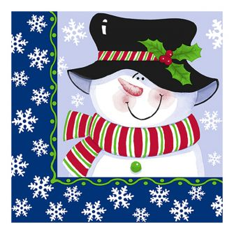 Christmas Lunch Napkins - Jolly Snowman Blue - 20 ct.