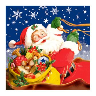Christmas Lunch Napkins - Santa with Toys - 20 ct.