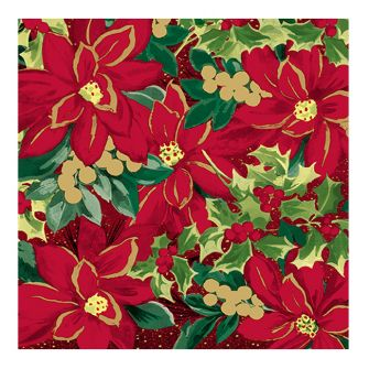 Christmas Lunch Napkins - Holiday Poinsettia - 20 ct.