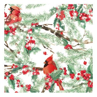Christmas Lunch Napkins - Cardinals in the Snow - 20 ct.
