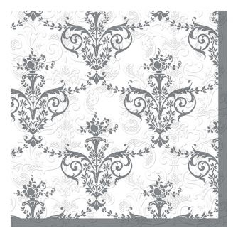 Dining Collection Lunch Napkins - Silver Fleur-de-lis - 20 ct.