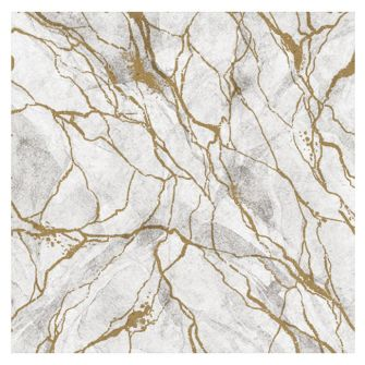 Dining Collection Lunch Napkins - Marble White & Gold - 20 ct.