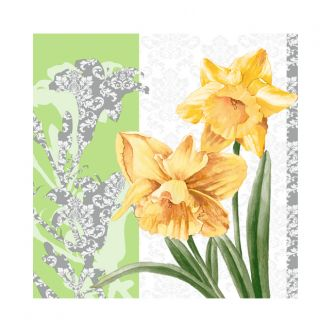 Dining Collection Cocktail Napkins - Golden Blooms - 20 ct.