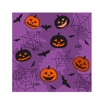 Cocktail Napkins - Halloween Collage Purple - 20 ct.
