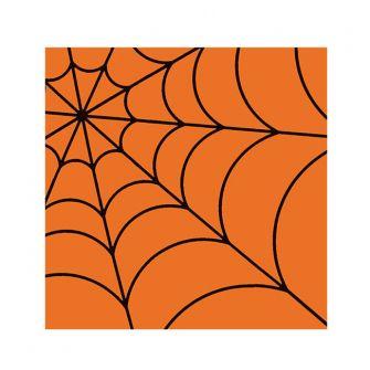 Halloween Cocktail Napkins - Spider Web Orange - 20 ct.