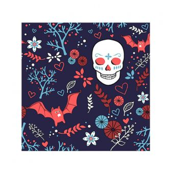 Halloween Cocktail Napkins - Sugar Skull & Bats - 20 ct.