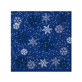 Christmas Cocktail Napkins - Snowflakes Blue - 20  ct.