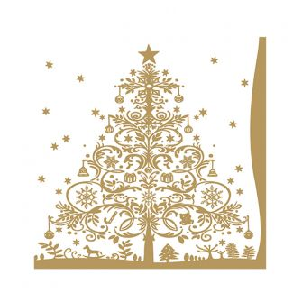 Christmas Cocktail Napkins - Christmas Tree Gold - 20 ct.
